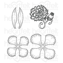 Heartfelt Creations - Camelia Carnation Collection - Large Camelia Carnation Cling Stamp Set