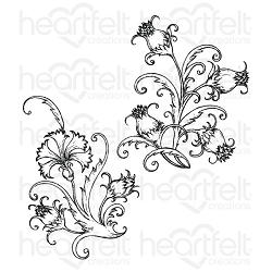 Heartfelt Creations - Camelia Carnation Collection - Fanciful Carnation Cling Stamp Set