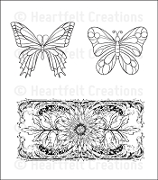 Heartfelt Creations - Cling Stamp - Delicate Asters and Butterflies