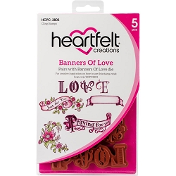 Heartfelt Creations - Heartfelt Love Collection - Banners of Love Cling Stamp Set