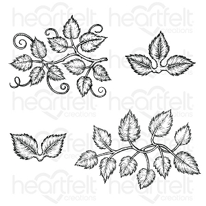 Heartfelt Creations - Leafy Accents Cling Stamp Set