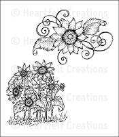 Heartfelt Creations - Classic Sunflower Collection - Cling Stamp - Sunflower Patch