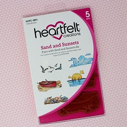 Heartfelt Creations - Sea Breeze Collection - Sand and Sunsets Cling Stamp Set