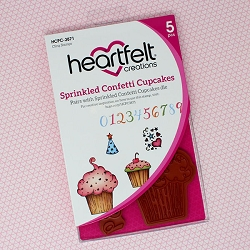 Heartfelt Creations - Sugarspun Collection - Sprinkled Confetti Cupcakes Cling Stamp Set