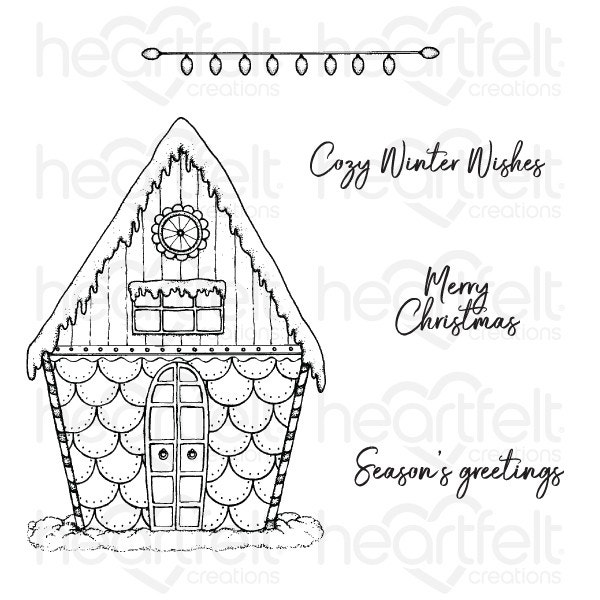 Candy Cane Cottage Stamp Christmas Heartfelt Creations Candy Cane Cottage