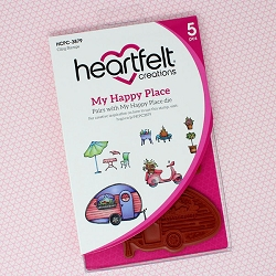 Heartfelt Creations - Happy Camper Collection - My Happy Place Cling Stamp Set