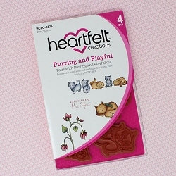 Heartfelt Creations - Purr-Fect Posies Collection - Purring and Playful Cling Stamp Set