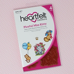 Heartfelt Creations - Purr-Fect Posies Collection - Playful Miss Kitty Cling Stamp Set