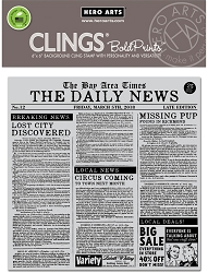 Hero Arts - Cling Rubber Stamp - Newspaper Bold Prints