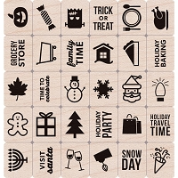 Hero Arts - Wood Mounted Rubber Stamp - Holiday Planner Icons by Clearly Kelly
