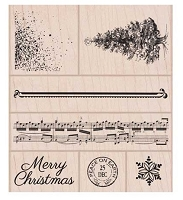 Hero Arts - Wood Mounted Rubber Stamp - Vintage Peace On Earth Set