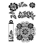 Hero Arts Clear Stamp (for Basic Grey)-Little Black Dress-Flower Star Wreath