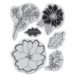 Hero Arts Cling Stamp for Basic Grey-Nordic Holiday-Poinsettia & Berries :)