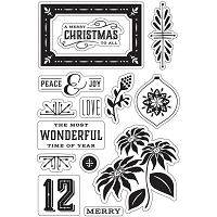 Hero Arts - Clear Stamp - Basic Grey Evergreen Peace & Joy