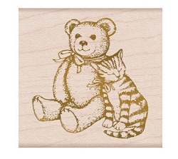 Hero Arts - Wood Mounted Stamp - Bear & Kitty From The Vault