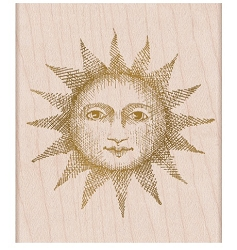 Hero Arts - Wood Mounted Stamp - Etched Serene Sun From The Vault