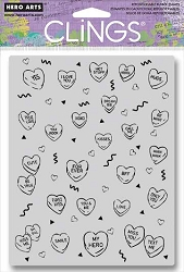 Hero Arts - Cling Rubber Stamp - Candy Hearts Peek-a-Boo