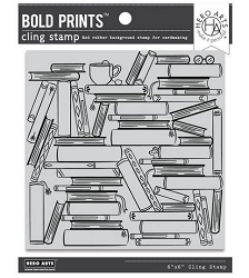 Hero Arts - Cling Rubber Stamp - Book Stacks Bold Prints