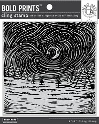Hero Arts - Cling Rubber Stamp - Etched Winter Scene Bold Prints