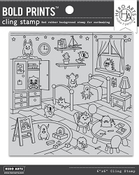 Hero Arts - Cling Rubber Stamp - Monster Bedroom Bold Prints