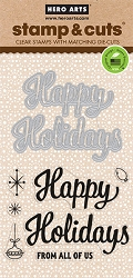 Hero Arts - Stamp & Cut - Happy Holidays Script Stamp & Die Set