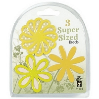 Hot Off The Press - Super Sized Brads - Yellow Flower