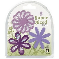 Hot Off The Press - Super Sized Brads - Purple Flower