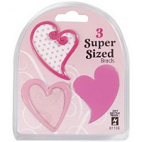 Hot Off The Press - Super Sized Brads - Pink Heart