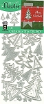 Hot off the Press-Dazzles Stickers-3D Christmas Trees Silver