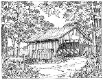 Impression Obsession Cling Mounted Rubber Stamp - Covered Bridge Scene