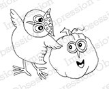 Impression Obsession - Cling Mounted Rubber Stamp - By Gail Green - Owl and Friend