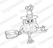 Impression Obsession - Cling Mounted Rubber Stamp - By Gail Green - Owl on Broom