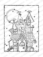 Impression Obsession - Cling Mounted Rubber Stamp - By Lindsay Ostrom - Haunted House