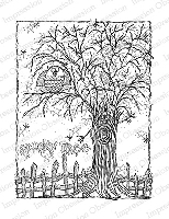 Impression Obsession - Cling Mounted Rubber Stamp - By Lindsay Ostrom - Spooky Tree