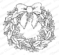 Impression Obsession - Cling Mounted Rubber Stamp - By Tara Caldwell - Holly Wreath