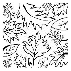 Impression Obsession - Cling Mounted Rubber Stamp - Cover A Card - Sketched Leaves