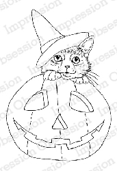Impression Obsession - Cling Mounted Rubber Stamp - By Gail Green - Pumpkin Kitty