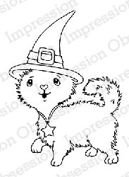 Impression Obsession - Cling Mounted Rubber Stamp - By Gail Green - Witch Hat Kitty