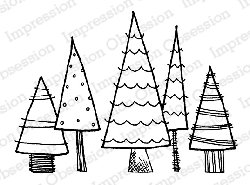 Impression Obsession - Cling Mounted Rubber Stamp - By Lindsay Ostrom - Patterned Trees