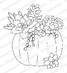 Impression Obsession - Cling Mounted Rubber Stamp - By Alesa Baker - Succulent Pumpkin