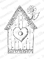 Impression Obsession - Cling Mounted Rubber Stamp - By Tara Caldwell - Heart Birdhouse