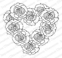 Impression Obsession - Cling Mounted Rubber Stamp - By Dina Kowal - Rose Wreath