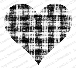 Impression Obsession - Cling Mounted Rubber Stamp - By Alesa Baker - Gingham Heart