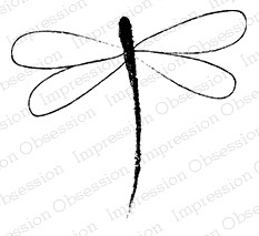 Impression Obsession - Cling Mounted Rubber Stamp - By Yvonne Blair - Sketch Dragonfly