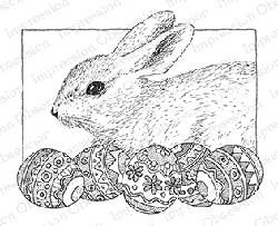 Impression Obsession - Cling Mounted Rubber Stamp - By Gary Robertson - Bunny with Eggs