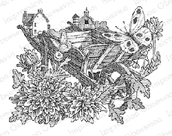 Impression Obsession - Cling Mounted Rubber Stamp - By Gary Robertson - Springtime Wheelbarrow