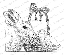 Impression Obsession - Cling Mounted Rubber Stamp - By Gary Robertson - Bunny with Basket