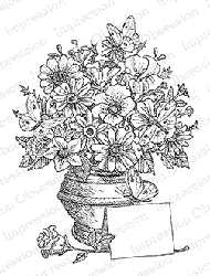 Impression Obsession - Cling Mounted Rubber Stamp - By Gary Robertson - Vase with Flowers