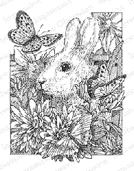 Impression Obsession - Cling Mounted Rubber Stamp - By Gary Robertson - Bunny in Flowers