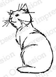 Impression Obsession - Cling Mounted Rubber Stamp - By Dina Kowal - Mini Cat